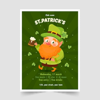 St. patrick's day poster template hand drawn