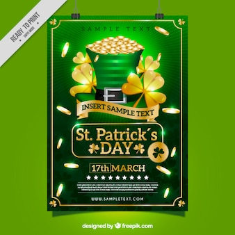 St patrick's day poster template with golden clovers and coins