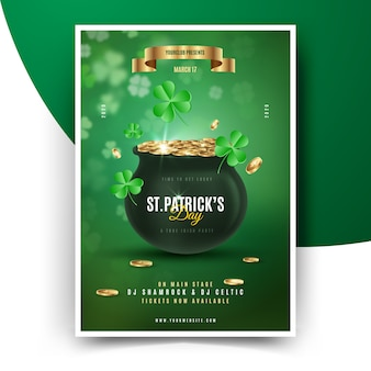 St. patrick's day poster with cauldron full of coins