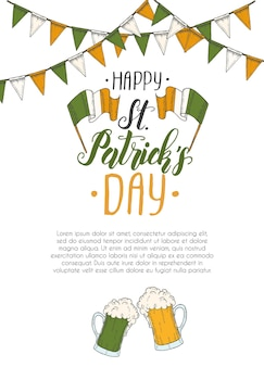 St patrick's day poster with hand drawn hand made lettering and flag garland.