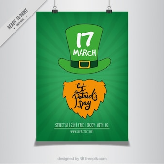St. patrick's day poster with hand drawn hat and beard