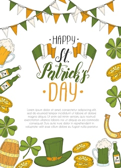 St patrick's day poster with hand drawn