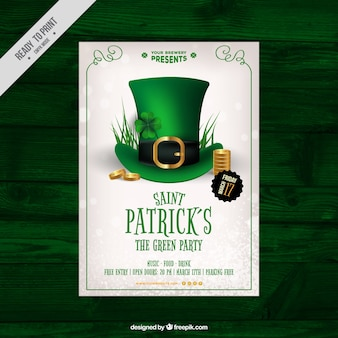 St patrick's day poster with realistic hat and coins