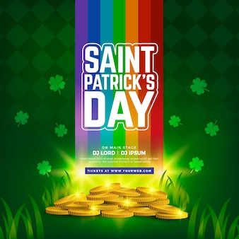 St. patrick's day realistic fall of rainbow and pile of coins
