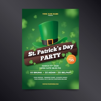 St. patrick's day realistic poster with leprechaun green hat