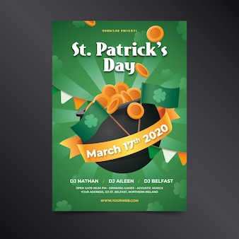 St. patrick's day realistic poster with ribbon and coins