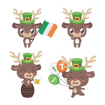 St. patrick's day reindeer mascot poses