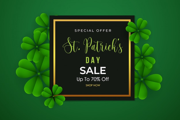 St. patrick's day sale background with clover leaves