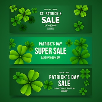 St. patrick's day sale horizontal banner set with clover leaves
