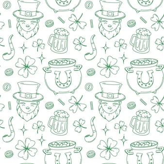 St. patrick's day seamless pattern design background