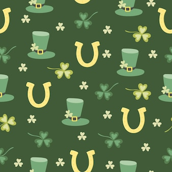 St.patrick 's day seamless pattern with clovers, hats and horseshoes