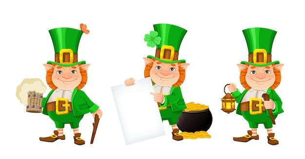 St patrick's day set. cheerful leprechaun