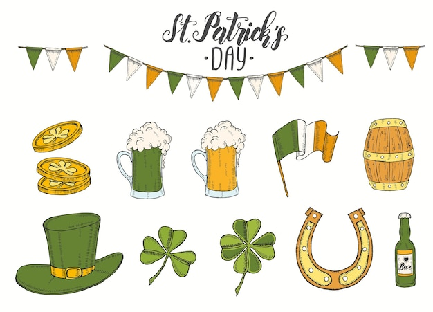 St patrick's day set with hand drawn