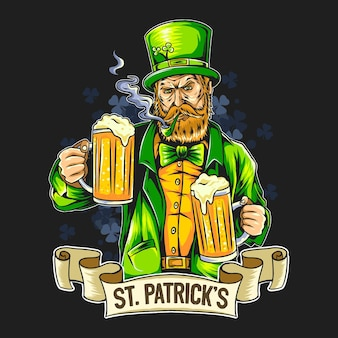 St. patrick's day smoking beard man holding two large beers