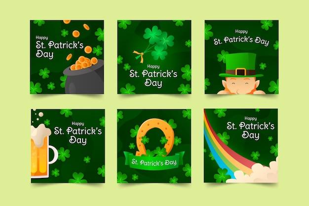 St. patrick's day social media clovers and rainbow