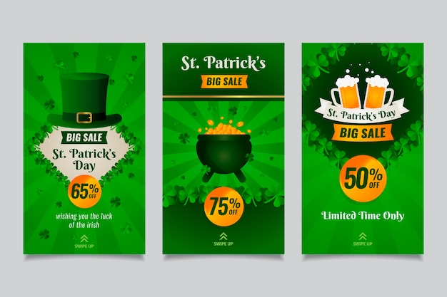 St. patrick's day social media stories with coins and beer
