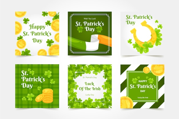St. patrick's day social media with golden coins