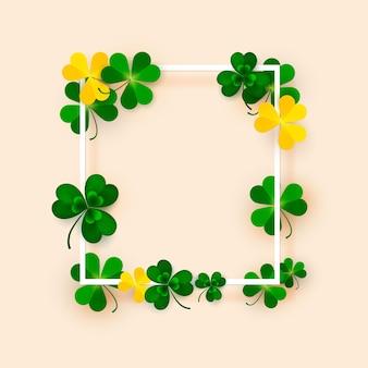 聖パトリックの日。緑のクローバーの葉と正方形のフレーム。ベクトルイラスト。運と成功のシンボル