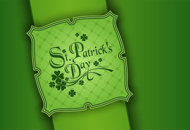 St. patrick's day, st. patrick day poster. a cloverleaf and greeting inscription in green colors.
