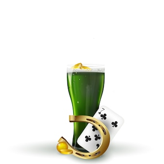 St.patrick 's day . st patrick's day green beer with shamrock, horseshoe, gold coins on white background.