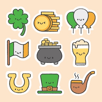 St. patrick's day sticker hand drawn cartoon collection