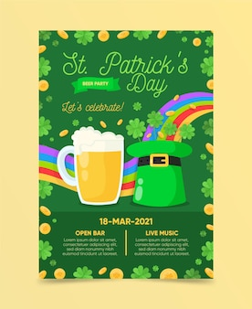 St. patrick's day vertical poster template with beer and hat