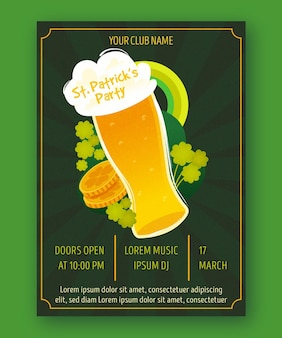 St. patrick's day vertical poster template with beer pint and coins