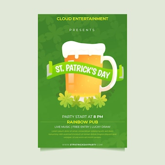 St. patrick's day vertical poster template with beer pint