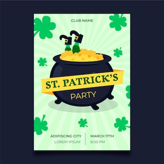 St. patrick's day vertical poster template with cauldron and coins