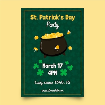 St. patrick's day vertical poster template with coins and cauldron