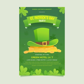 St. patrick's day vertical poster template with hat and coins