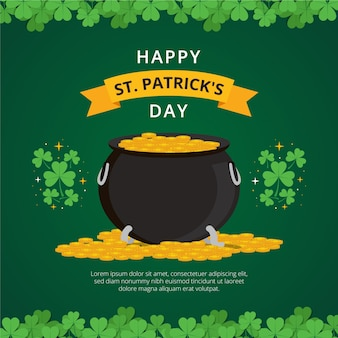 St. patrick's day with cauldron and coins