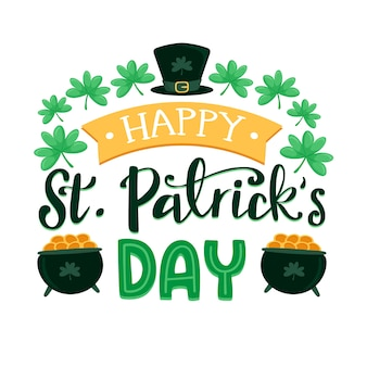 St. patrick's day with cauldrons filled with golden coins