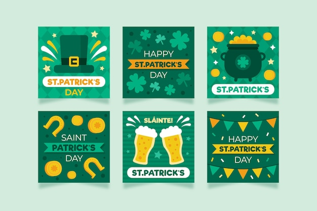 St. patrick's day with golden coins and beer instagram post set