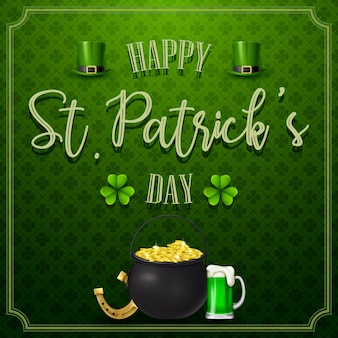 St. patrick's day with golden coins and beer