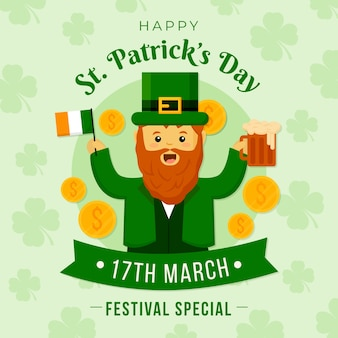 St. patrick's day with man holding beer and flag