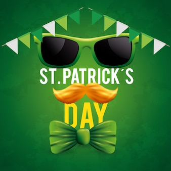 St patrick's day with sunglasses and mustache