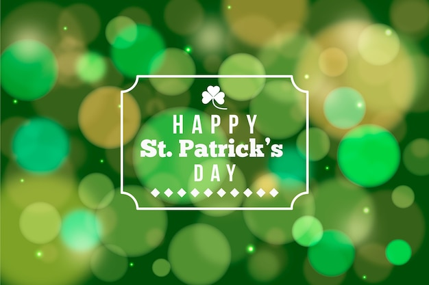 St. patrick's day with transparent card frame and bokeh background