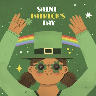 La donna del giorno di san patrizio vestita di verde e arcobaleni
