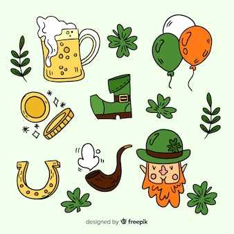 St patrick's hand drawn element collection