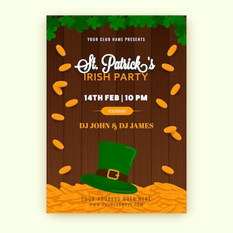 St. patrick's irish party flyer design with leprechaun hat