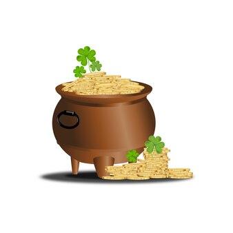 アイルランドのシャムロックの葉が付いている金貨が付いているst.patrickの鍋。 3dメッシュベクトルクローバーの葉、白い背景で隔離、アイルランドのシンボル