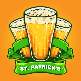 St patrick`s three glasses beer with ribbon illustration