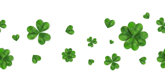 Предпосылка счастливого дня st. patrick горизонтальная безшовная с shamrock, четырехлистным клевером изолированным на белой предпосылке. образец символа ирландии.