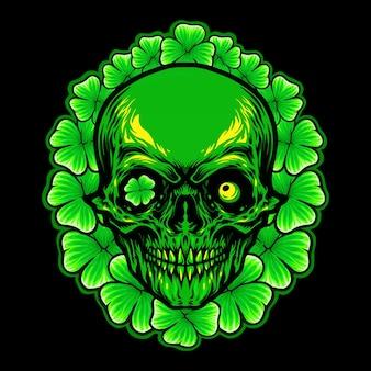 St patrick skull leaf clover frame illustration