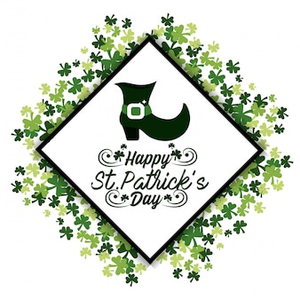 St patrick sticker celebration with boot and clovers
