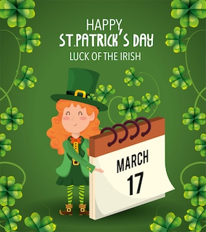 St patrick woman with clovers plants and calendar