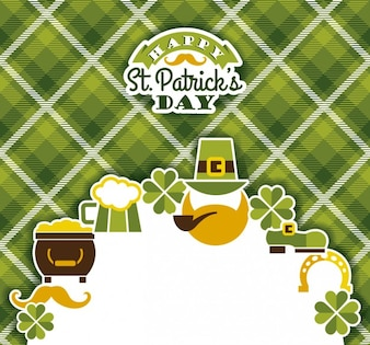 St. Patricks card on gingham background