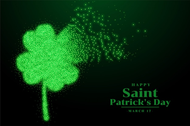 St patricks clover sparkling leaf background