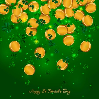 St patricks day background background with falling golden coins and clover